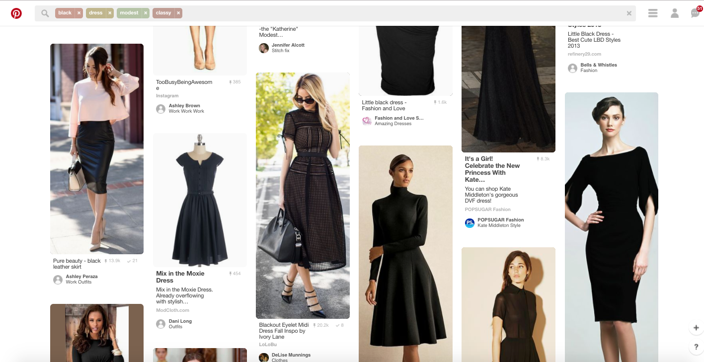 Pinterest - Example search for black dress